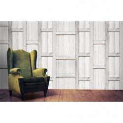 Light grey wood trompe l'oeil wallpaper