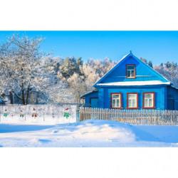 Brise vue Noël bonhommes de neige dans le jardin