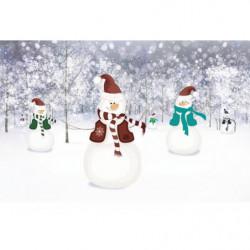 Poster panoramique dessin d'hiver avec des bonhommes de neige
