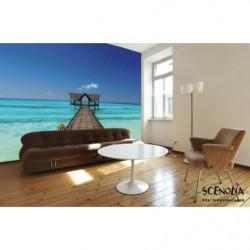 Poster paysage ponton sur la mer turquoise