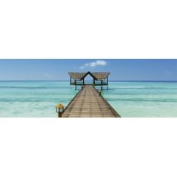 Tableau panoramique ponton sur la mer turquoise