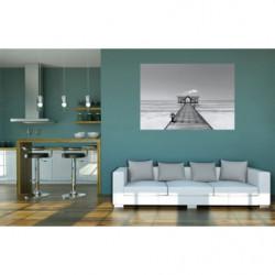Poster panoramique bord de mer noir et blanc