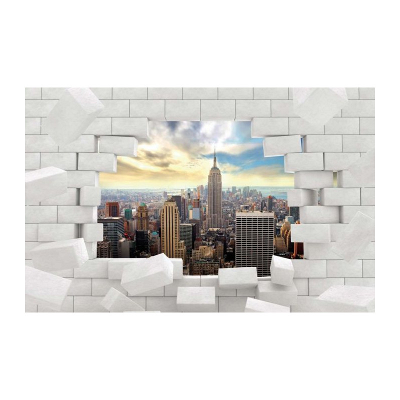 Papier peint new york derri re ce mur de briques break for Papier peint trompe l oeil fenetre