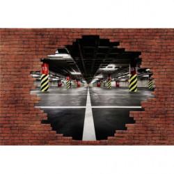 Poster trompe l'oeil mur de briques parking