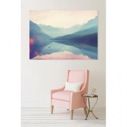 Tableau lac de montagne aux couleurs pastel
