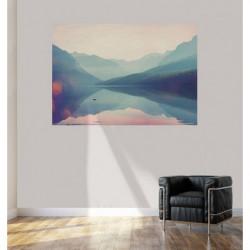 Poster paysage lac dans la brume