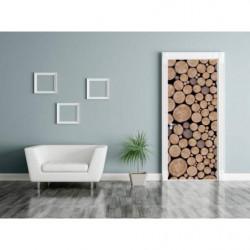 Poster de porte rondins de bois empilés