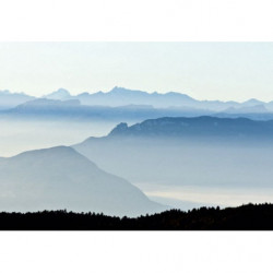 Picture of mountain peaks in the mist