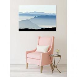 Cuadro en lienzo de picos de montaña en la niebla