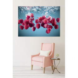 Decorative painting kitchen raspberries falling in the water