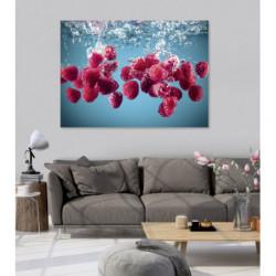 Pintura decorativa frambuesas de cocina cayendo al agua