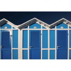 Papel pintado trompe l'oeil cabañas de playa azul