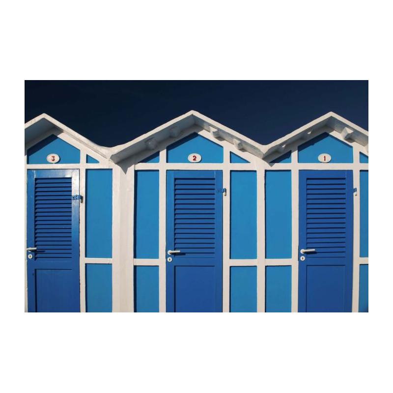 CABINES DE PLAGE Papier peint cabines bleu et blanc # Cabines De Plage En Bois