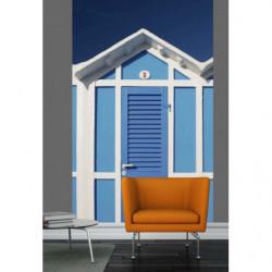 Tenture murale cabine de plage bleue