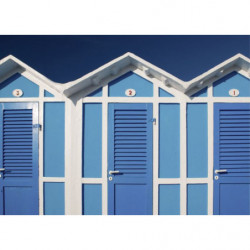 Picture of blue beach huts