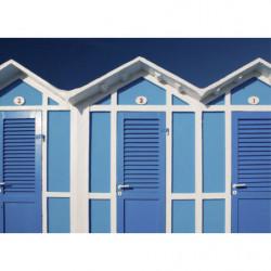 Tableau photo de cabines de plage bleues
