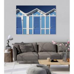 Cuadro en lienzo de casetas de playa azules
