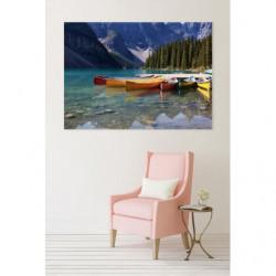 Tableau paysage canadien avec canoë