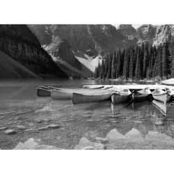 Landscape painting Canada black and white