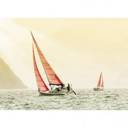 Cuadro en lienzo paisajes de veleros en colores pastel
