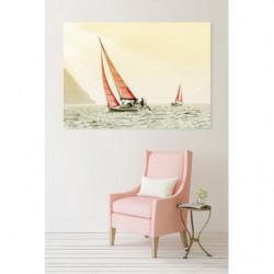 Tableau paysage voiliers aux couleurs pastel