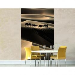 Tenture murale caravane de chameaux dans le désert