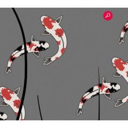 Zen panoramic wallpaper with drawn fish