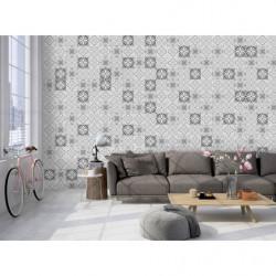 Papier peint effet carreaux de ciment gris