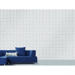 White metro tile trompe l'oeil wallpaper