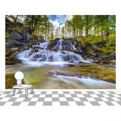 Poster panoramique cascade en montagne