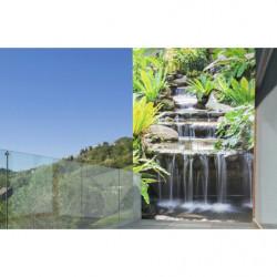 Brise vue imprimé zen : déco murale extérieure trompe l'oeil cascade