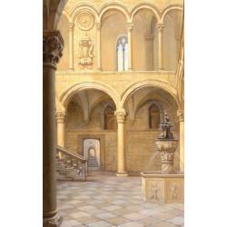 Papel pintado de columnas en trampantojo