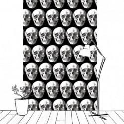 Tenture murale décor Halloween avec des têtes de mort