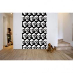 Papel pintado de calavera en blanco y negro