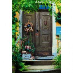 Papel pintado trompe l'oeil puerta de madera