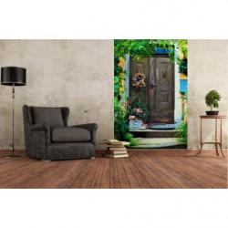Wallpaper trompe l'oeil wooden door