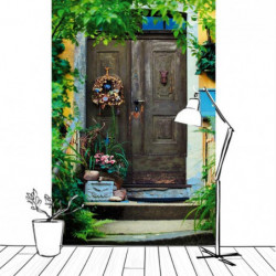 Papier peint trompe l'oeil porte en bois