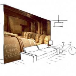 Trompe l'oeil wallpaper old cellar