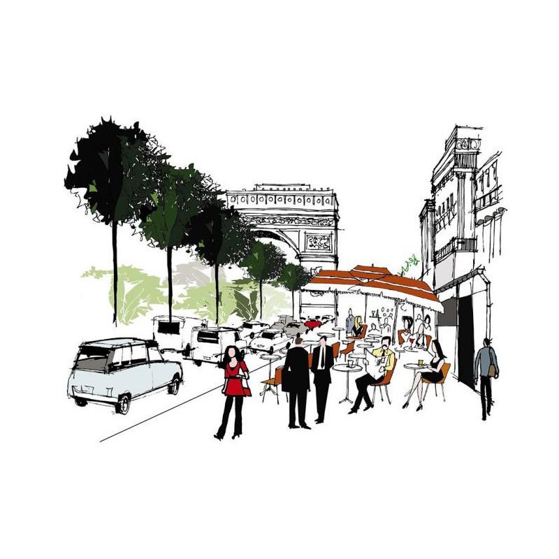 Dessin des champs elys es paris papier peint panoramique - H m avenue des champs elysees ...
