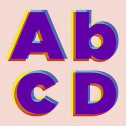 Deco wall canvas print with alphabet