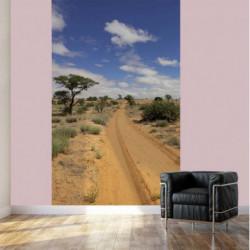 Camino de papel pintado trompe l'oeil en el desierto