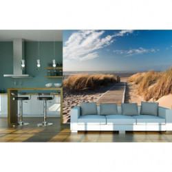 Papier peint panoramique trompe l'oeil plage