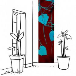 Tenture murale extérieure feuillage bleu