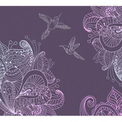 Poster violet dessin de colibris