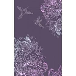 Tenture suspendue dessin de fleurs et colibris violet