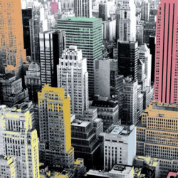 Urban painting coloured city