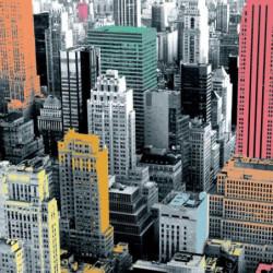 Tenture murale extérieure carrée New York en couleur
