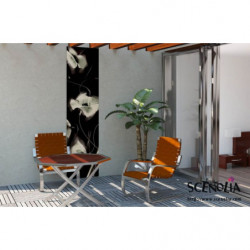 Tenture murale extérieure coquelicots noir et blanc avec effet design