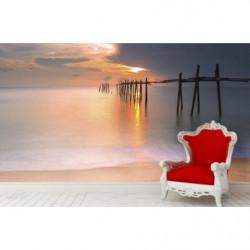 Poster panoramique coucher de soleil sur la plage