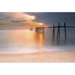 Papier peint panoramique coucher de soleil sur la plage